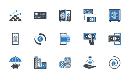 Banking icons set. Related vector glyph icons. Black and blue color. Isolated on white background. Vector illustration.  イラスト・ベクター素材