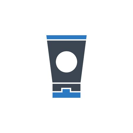 Sunscreen related vector glyph icon.