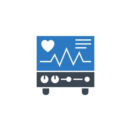Electrocardiogram related vector glyph icon.