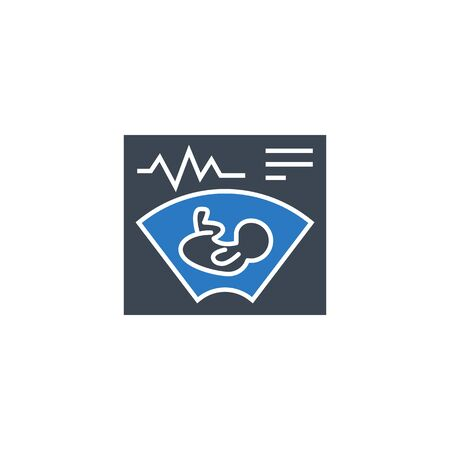 Ultrasound related vector glyph icon. Isolated on white background. Vector illustration.