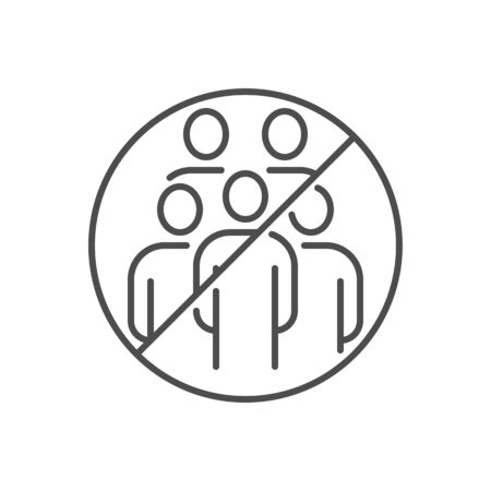 Avoid crowded places related vector thin line icon 일러스트