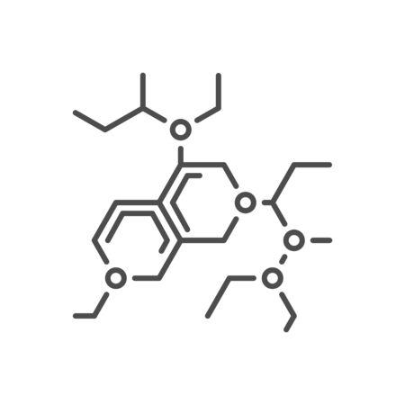 Molecule related vector thin line icon.