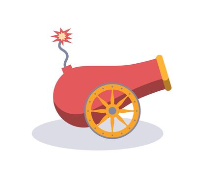 Vintage gun. Color image of medieval cannon isolated on a white background. Cartoon style. The subject of war and aggression.Vector illustration.