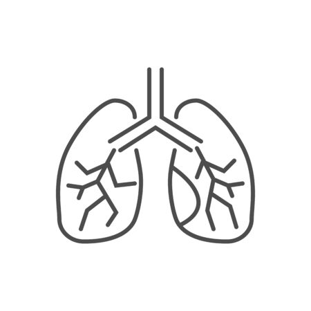 Lungs related vector thin line icon. Isolated on white background. Editable stroke. Vector illustration.