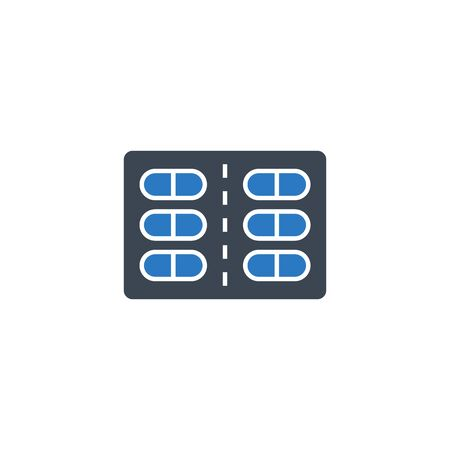 Pills related vector glyph icon.
