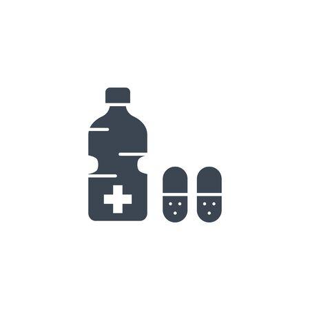 Medical Bottle related vector glyph icon. Ilustração