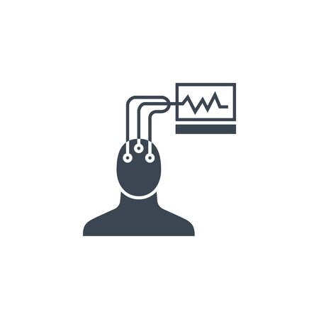Electroencephalography related vector glyph icon.