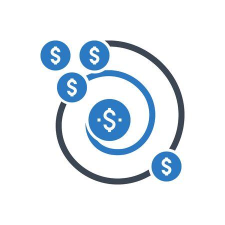 Return on Investment Vector Glyph Icon Vektoros illusztráció