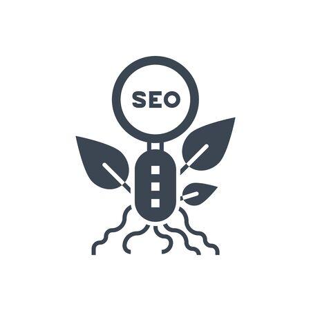 Organic SEO Vector Glyph Icon