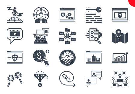 Glyph Icons Set of Search Engine Optimization Vektoros illusztráció