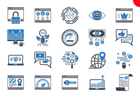 Glyph Icons Set of Search Engine Optimization