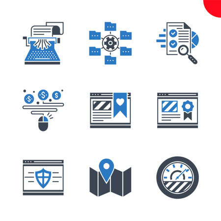 Seo and web opimization icons set