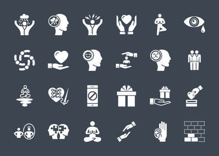 Conscious Living and Friends Relations Glyph Related Icons Set Illustration