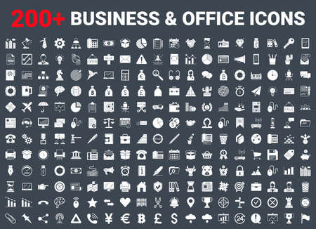 Set vector business icons glyph set. 矢量图像