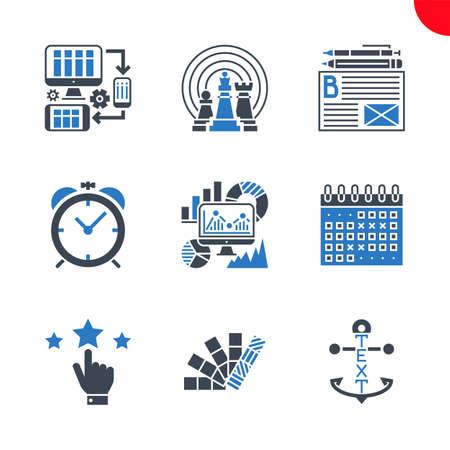 Seo and web opimization icons set Ilustração