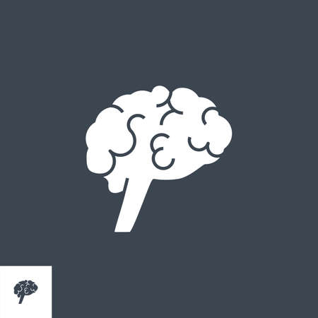 Human Brain Glyph Vector Icon.