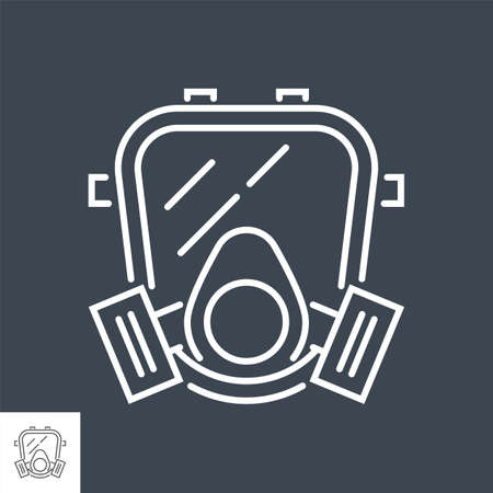 Gas mask related vector thin line icon.