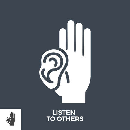 Listen to Others Glyph Vector Icon. 矢量图像