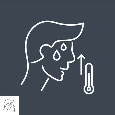High body temperature related vector thin line icon