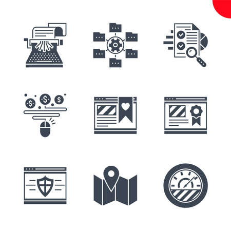 Seo and web opimization icons set