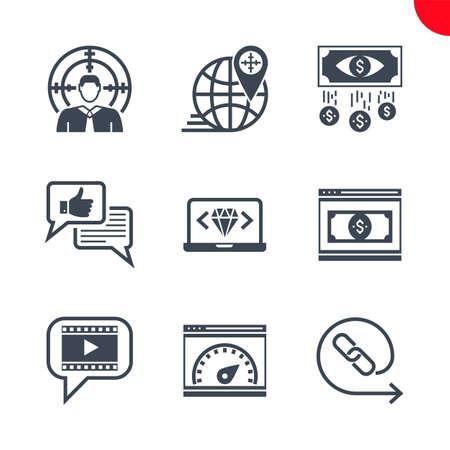 Seo and web opimization icons set 일러스트