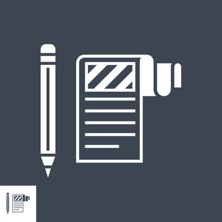 Article Submission Related Vector Glyph Icon. 일러스트