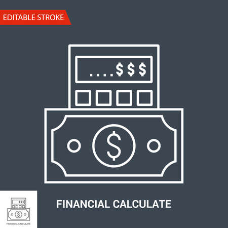 Financial Calculate Icon. Thin Line Vector Illustration