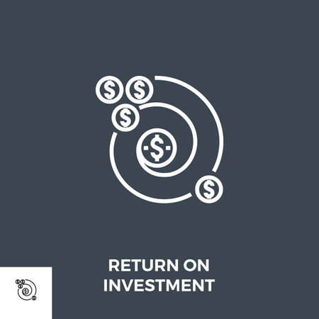 Return on Investment Line Icon Ilustrace