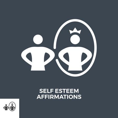 Self Esteem Affirmations Glyph Vector Icon. Vektorové ilustrace