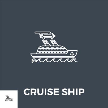 Cruise Ship Icon Vector.