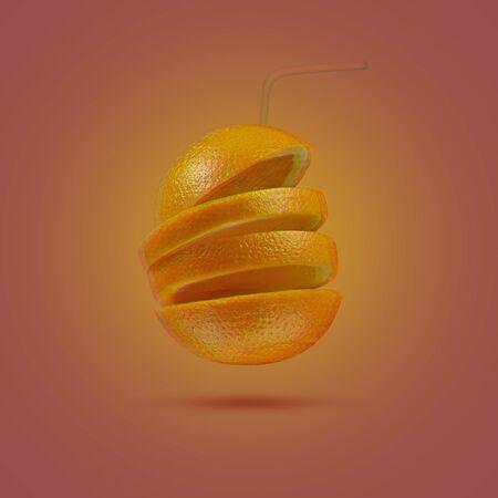 Orange sliced on a bright orange background. Minimum fruit concept. Hud style, glitch effect.