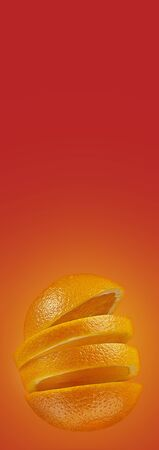 Orange sliced on a bright red background. Minimum fruit concept. Layout for advertising in Google AdWords