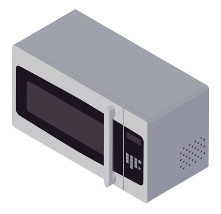 microwave icon in isometric style, isolated vector illustration on transparent background