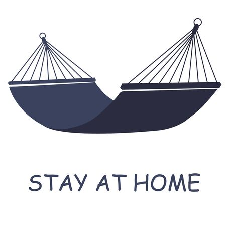 Hammock on a white background with letering, stay at home. Relaxing. Simple element illustration. Hammock concept symbol design from camping collection. Can be used for web, mobile and print. web design, apps, software, print Illustration