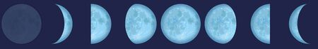 Lunar phases - chart with the contrary phases of the moon observed from the northern hemisphere of planet earth. Vector illustration on dark blue background.
