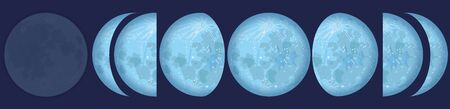 Lunar phases - chart with the contrary phases of the moon observed from the northern and southern hemisphere of planet earth. Vector illustration on blue background.