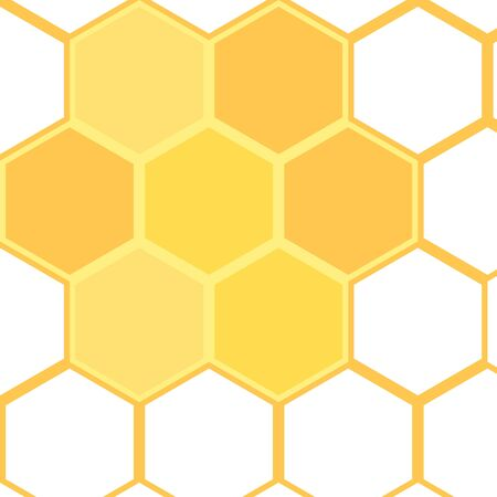 Cells. Illustration of hexagon abstract background. Isolated honeycomb on white background. Concept for organic honey products, package design. Decorative flat vector element for jar of honey, flyer.