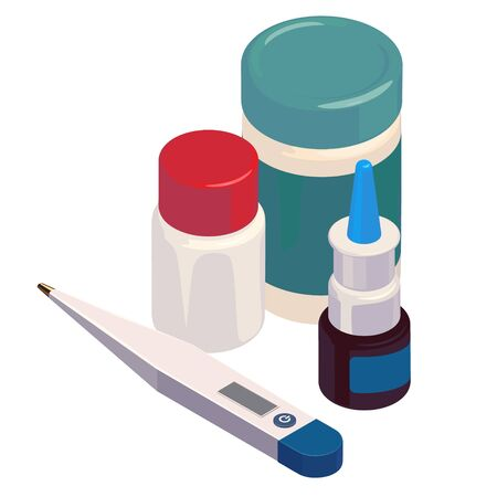 Composition with pills, drags, madisine, termometr, antibiotics, cap, pharmacy medical illustration isometric vector isolated sick