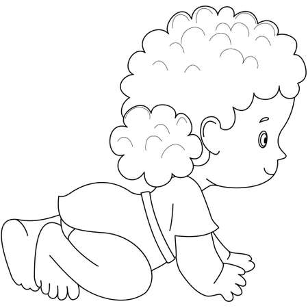 Pretty Crawling Baby Kid Isolated. Socialization, Infancy. Diapers. Black and white vector illustration for coloring book. crawl.