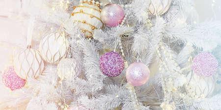 White Christmas tree decor with toys. Luxury christmas tree.