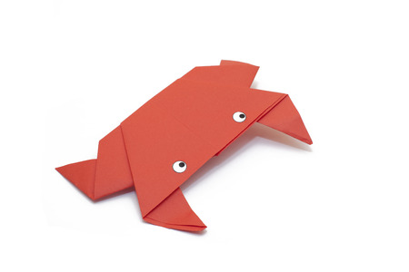red frog: Origami red frog paper Stock Photo