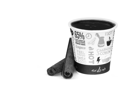 takeout: take-out coffee in opened thermo cup on white background