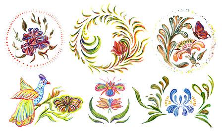 Ukrainian folk art. Ukrainian national motives.  Hand drawn illustration in Ukrainian folk style. illustration