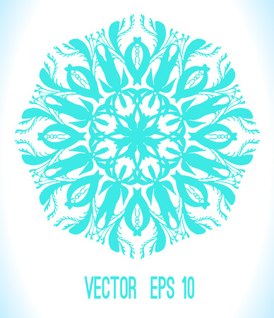 Abstract vector circle floral ornamental border. Hand drawn abstract background. Snowflake Vector