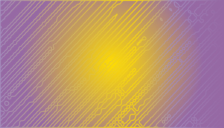 Abstract vector background with chaotic stripes. Yellow and purple stripes on light background. Rectangular background with stripes. Ilustração