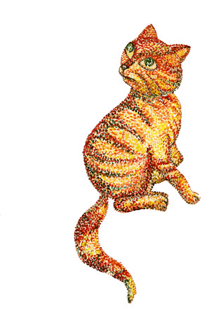 mjau: Handmade watercolor painting illustration. Cat on white background. Dotted technique. Pointillism. Vector. Illustration