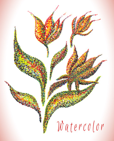 illustration technique: Handmade watercolor painting illustration. Flower on white background. Dotted technique. Pointillism. Illustration