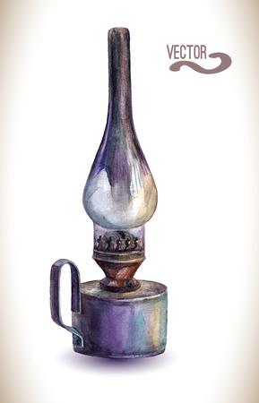 kerosene: Watercolor kerosene lamp. Vintage lantern. Illustration