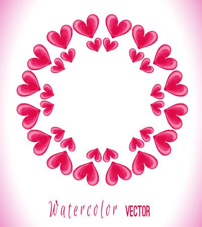 circle frame: Circle frame made of watercolor pink hearts. Stylish love card with pink watercolor hearts. Vector illustration.