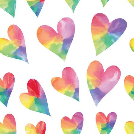 Rainbow hearts. Watercolor hearts seamless pattern. Vector illustration Vector